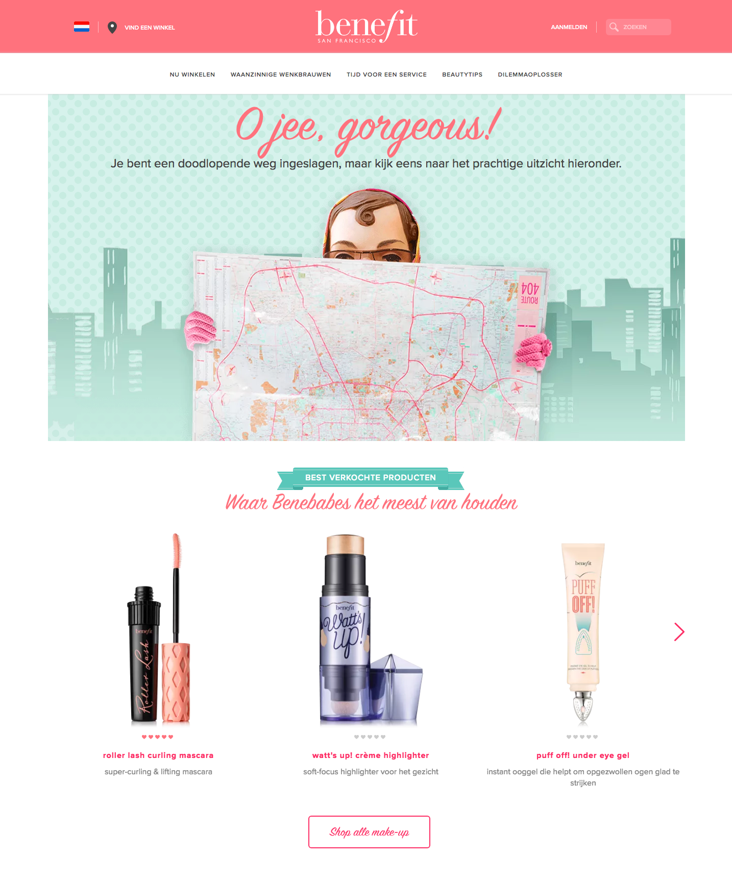 Benefit cosmetics 404 page