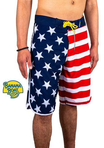Banana Boat USA American Flag 80's Classic s 4-Way Stretch Performance Quick Dry Board Short Sun Protective ProtectUV UPF50+