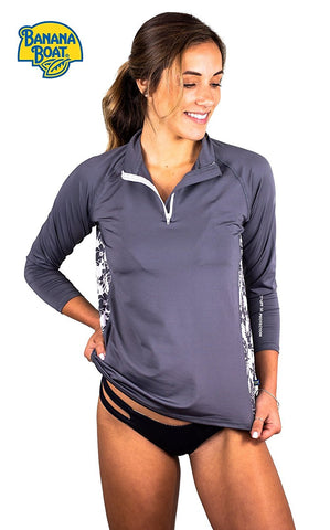 Banana Boat Women's Rash Guard Long Sleeve 1/4 Zip Swim Shirt UPF50