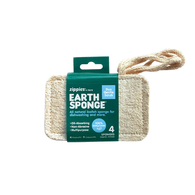 Zippies Earth Sponge Duo Gentle Scrub Pack of 4