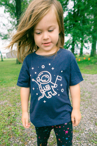 Glowing Astronaut T-shirt, Space Shirt for Kids, Outer Space T-shirt for Toddlers - Nerd Under The Stairs