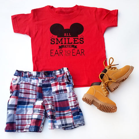 All Smiles from Ear to Ear Mickey Mouse t-shirt, Disneyland shirt for kids - Nerd Under The Stairs