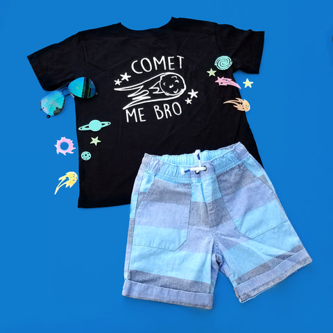 Comet Me Bro T-shirt, Funny Space T-shirt for Kids, Space Pun Shirt, Toddler Space T-shirt - Nerd Under The Stairs