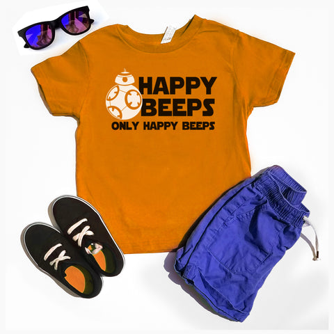 Happy Beeps only Happy Beeps Kids T-shirt, Funny Star Wars Shirt, BB8 Toddler Shirt - Nerd Under The Stairs