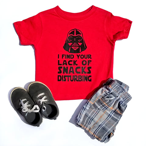 Your Lack of Snacks is Disturbing Shirt, Funny Star Wars T-shirt, Darth Vader Parody Shirt - Nerd Under The Stairs