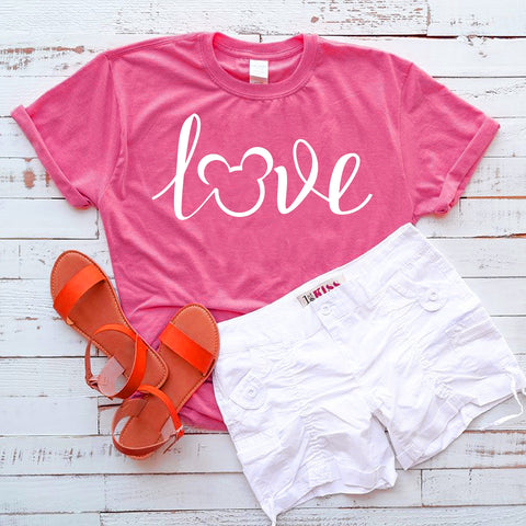 Mickey Love Kids T-shirt, Kids Mickey Script Tee, Fun Disney Bound Kids Shirt