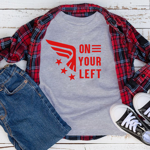 On Your Left Kids Tee, Kids Captain America & Falcon T-shirt, Avengers Quote Shirt