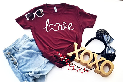 Love Mickey Tee, Cute Disney Tee, Disney Bound Outfit, Pretty Script Disney Tshirt