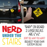 Future Gamer on Board Decal, Fun Nerdy Decal Gift, Geeky Car Sticker, Xbox Baby On Board Decal - Nerd Under The Stairs