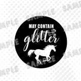 May Contain Glitter Unicorn Vinyl Decal, Glitter Vinyl Car Decal, Unicorn Decal Gift - Nerd Under The Stairs