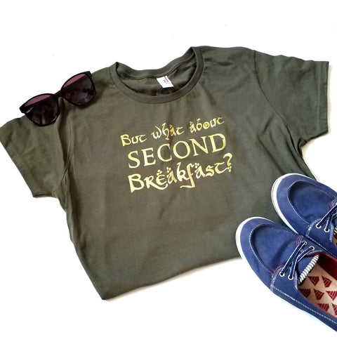 Hobbit T-shirt, What About Second Breakfast Shirt, Lord of the Rings T-shirt - Nerd Under The Stairs