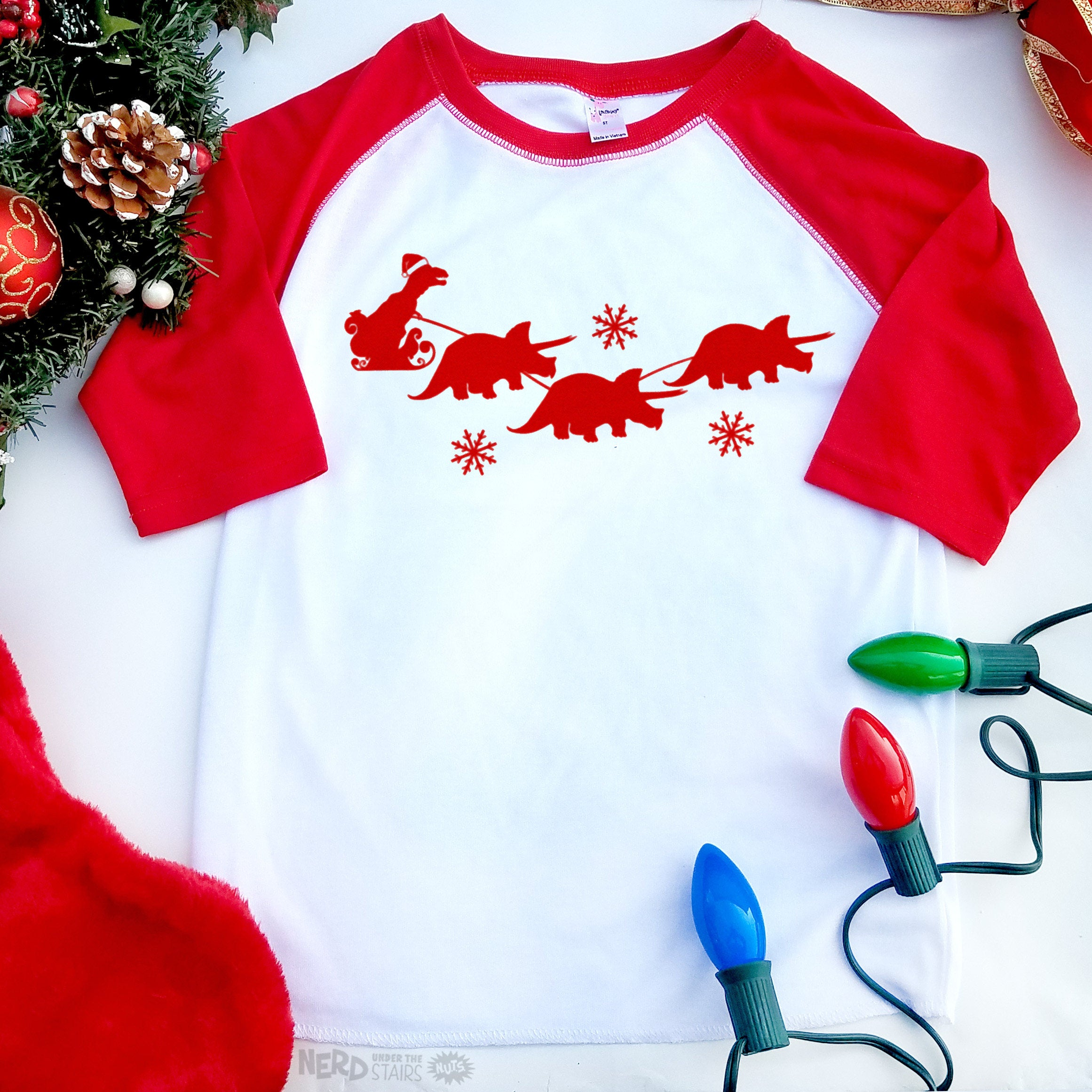 T-Rex Christmas Shirt, T-rex Santa with Triceratops Reindeer, Funny ...
