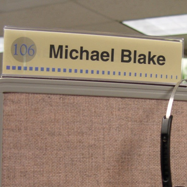 10 in. x 4 in. DOUBLE-SIDED OFFICE CUBICLE NAMEPLATE SIGN FRAME