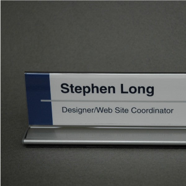 10 in. x 2 in. DOUBLE-SIDED OFFICE CUBICLE NAMEPLATE SIGN FRAME WITH ALUMINUM BASE