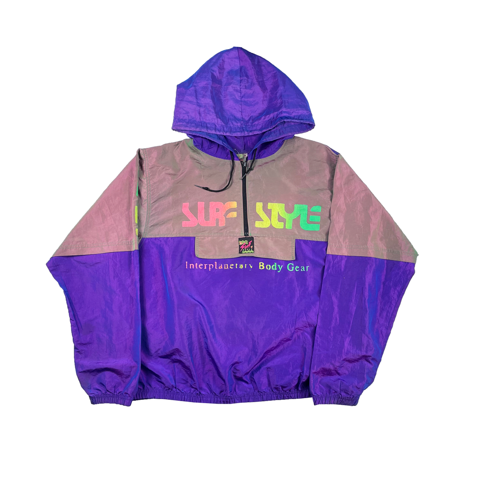 Vintage Purple/Grey Surf Style Windbreaker