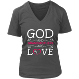 """God and Grandmothers"" Grandma V-Neck T-Shirts Gifts for Grandmother"