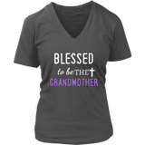 """Blessed"" Grandma V-Neck T-Shirts Gifts for Grandmother"