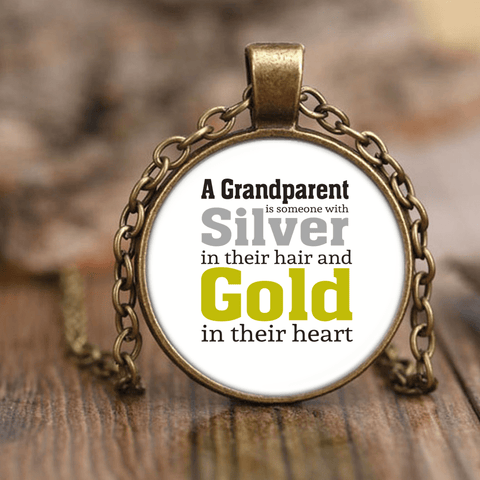 """Silver and Gold"" Unique Necklace Gift for Grandparents"