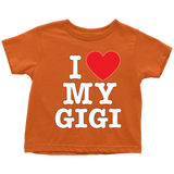 """I Love"" Gigi Infant and Toddler T-Shirts"