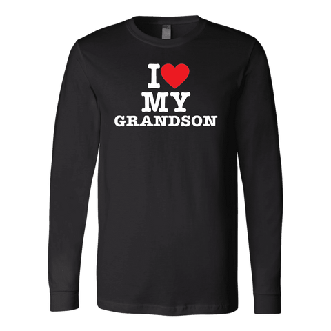 """I Love"" Grandson Long Sleeve T-Shirt Gift for Grandfather"
