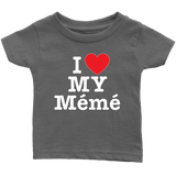"""I Love"" Meme Infant and Toddler T-Shirts Gift for Grandmother"