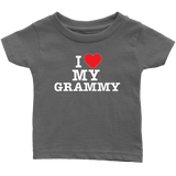 """I Love"" Grammy Infant and Toddler T-Shirts Gift for Grandmother"