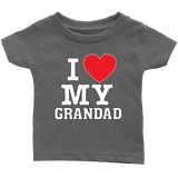 """I Love"" Grandad Infant and Toddler T-Shirts Gift for Grandfather"