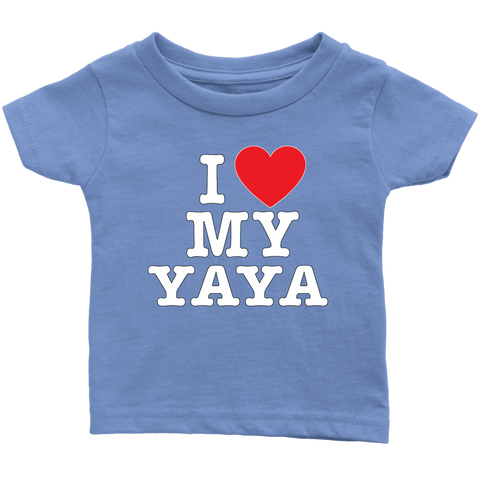 """I Love"" Yaya Infant and Toddler T-Shirts Gift for Yaya"
