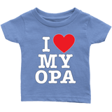 """I Love"" Opa Infant and Toddler T-Shirts Gift for Grandfather"