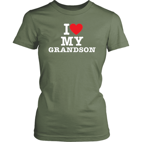 """I Love"" Grandson T-Shirt Gift for Grandmother"