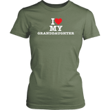 """I Love"" Granddaughter T-Shirt Gift for Grandmother"