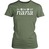 """Live Love Spoil"" Women's Nana T-Shirts Gift for Grandmother"