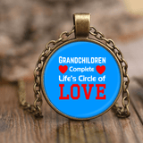 """Circle of Love"" Antique Brass Unique Necklace Gifts for Grandparents"