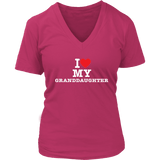 """I Love"" V-Neck Granddaughter T-Shirt Gift for Grandmother"