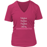"""Fearless"" For Grandmother V-Neck T-Shirt Gift for Grandmother"