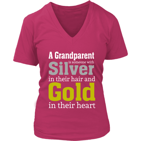 """Silver and Gold"" Grandparent Women's V-Neck T-Shirt Gifts for Grandparents"