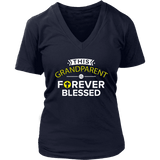 """Forever Blessed"" Grandparents Women's V-Neck T-Shirt Gift for Grandmother"