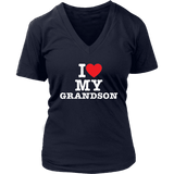 """I Love"" V-Neck Grandson T-Shirt Gift for Grandmother"