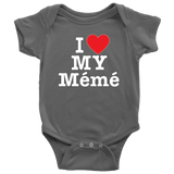 """I Love"" Meme Baby Onesie Gift for Grandmother"