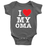 """I Love"" Oma Baby Onesie Gift for Grandmother"