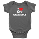 """I Love"" Grammy Baby Onesie Gift for Grandmother"