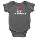 """I Love"" Grandma Baby Onesie Gift for Grandmother"