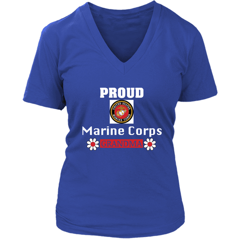 MARINE CORPS Grandma Women's V-Neck T-Shirt gift for Grandmother