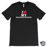 """I Love"" Granddaughter Made in USA T-Shirt Gift for Grandfather"