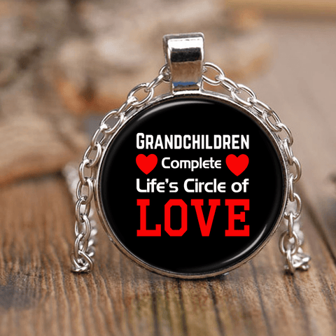 """Circle of Love"" Silver Unique Necklace Gifts for Grandparents"