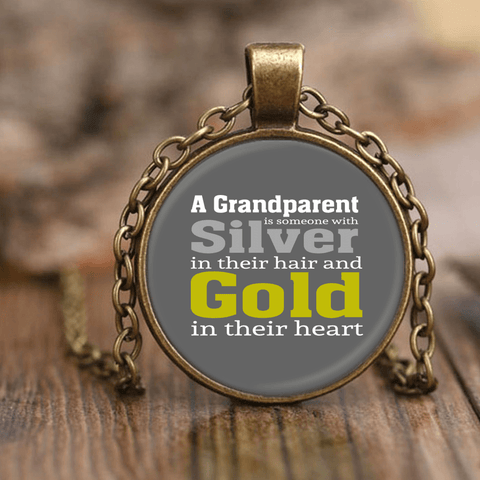 """Silver and Gold"" Grandparents Unique Necklace Gift for Grandparents"