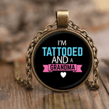 """Tattooed Grandma"" Antique Brass Unique Necklace Gift for Grandparents"