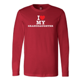 """I Love"" Granddaughter Long Sleeve T-Shirt Gift for Grandfather"