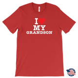 """I Love"" Grandson Made in USA T-Shirt Gift for Grandfather"