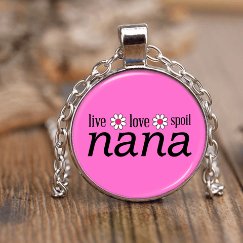"""Live,Love,Spoil"" Nana Unique Necklace Gift for Grandmother"